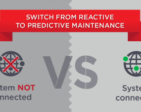 System not connected versus System connected : switch from reactive to predictive maintenance.