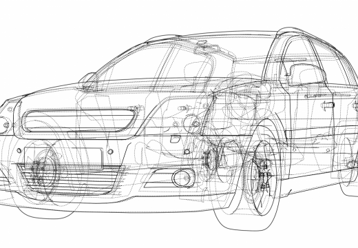 The technical drawing of a car.