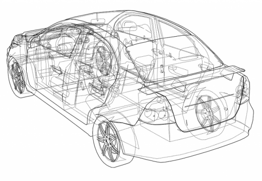 Technical drawing of car.