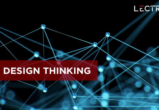 "The expression ""Design thinking"" written on an digital network  illustration."