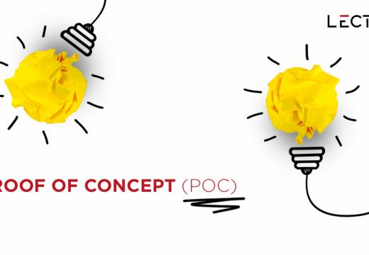 "Drawing of two bulbs with the sentence ""Proof of concept"" written."