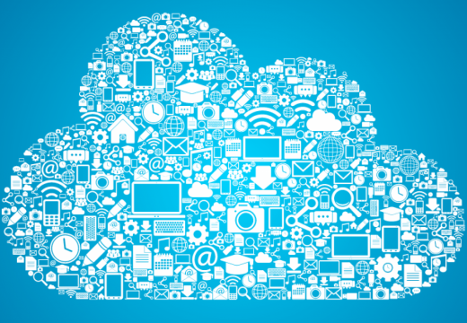 A cloud of digital tools icons.
